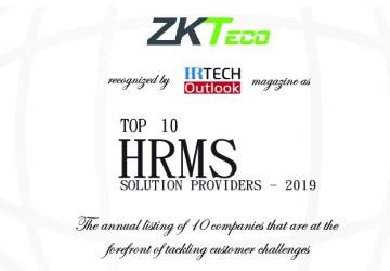 ZKTeco 2019'un En İyi 10 HRMS Çözüm Sağlayıcısı Oldu